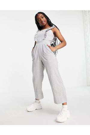 Missguided Jumpsuit with frill front in stripe-Multi