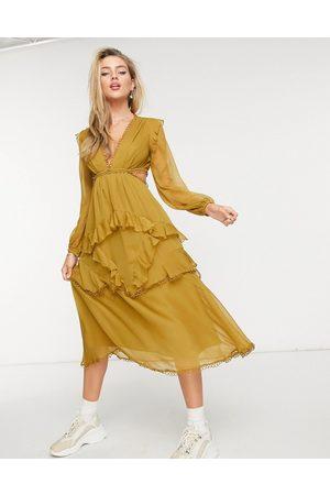 ASOS Midi dress with long sleeve and circle trim