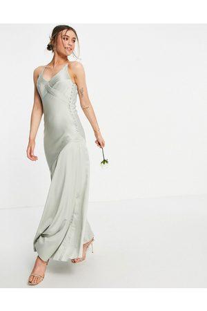 ASOS Bridesmaid cami satin maxi dress with button side detail-Green