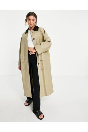 ASOS Damen Trenchcoats - Cord collared boyfriend trench coat in stone-Brown
