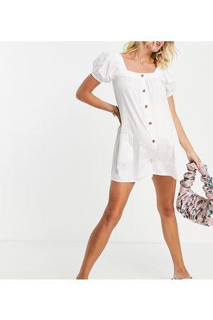 ASOS ASOS DESIGN maternity off shoulder button through swing playsuit in white