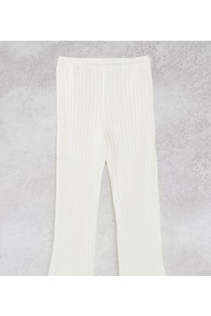 COLLUSION Unisex chunky jersey knit wide leg joggers in ecru co-ord-White