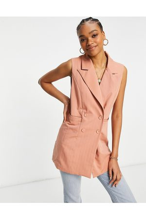 Y.A.S Co-ord double breasted waistcoat in coral-Brown