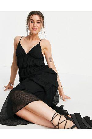 Pimkie V neck strappy maxi smock dress in black