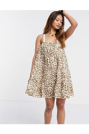 ASOS Tiered mini sundress in washed leopard print-Multi