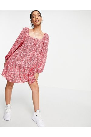 ASOS Tiered trapeze mini smock dress in red and pink floral print-Multi