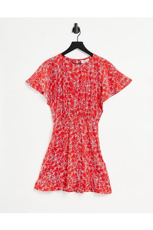 & OTHER STORIES Ecovero cinched waist mini dress in red floral