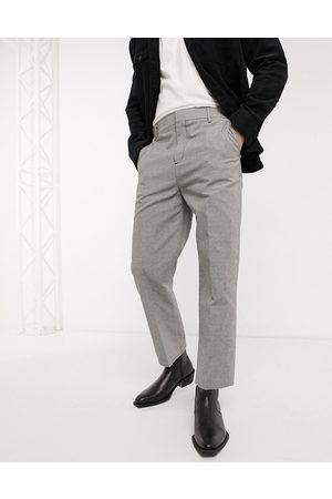 Weekday Tucker Checked Trousers in Grey-Black