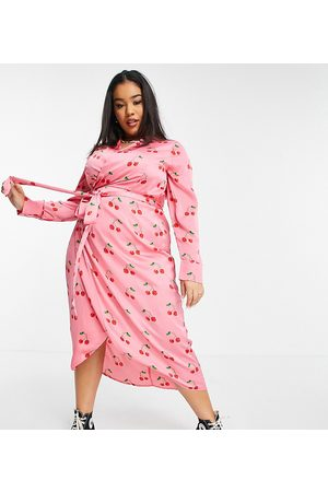 Never Fully Dressed Wrap midi dress in pink cherry print