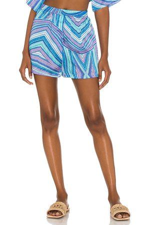 Frankies Bikinis Fifi Viscose Boxer in - Blue. Size L (also in XS, S, M).