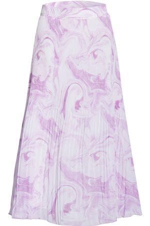 Ganni Damen Faltenröcke - Plisseerock violett