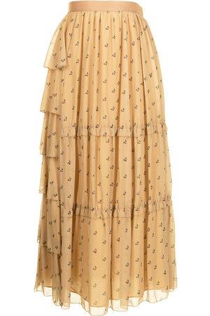 Sueundercover Damen Bedruckte Röcke - Cherry-print tiered maxi skirt