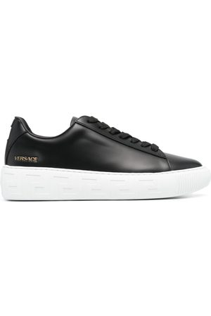VERSACE Logo-patch lace-up sneakers