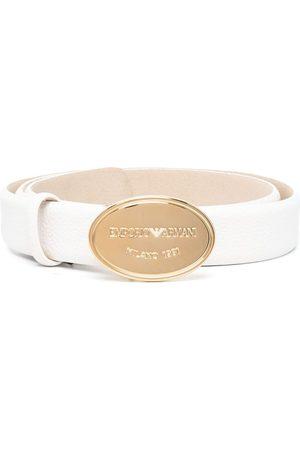 Emporio Armani Damen Gürtel - Engraved-logo buckle belt