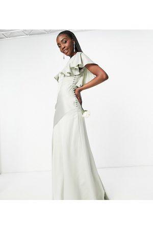 ASOS ASOS DESIGN Tall Bridesmaid flutter sleeve satin maxi dress with button side detail-Green
