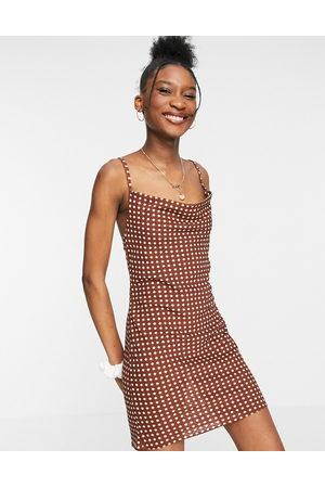ASOS Mini slip dress in rust spot print-Multi