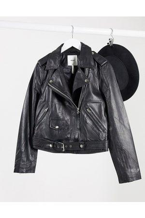 Object Leather biker jacket with zip detail in black