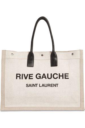 """SAINT LAURENT Tote Aus Leinen & Leder """"rive Gauche"""""""