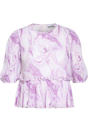 Ganni Plissee-Blusenshirt violett