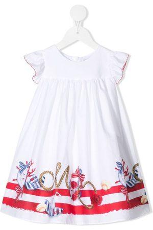 MONNALISA Baby Kleider - Nautical-motif ruffled-sleeves dress