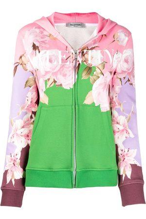 VALENTINO Damen Sweatshirts - Floral logo-print zip-up hoodie