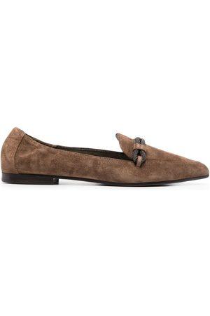 Brunello Cucinelli Rhinestone-embellished pointed toe loafers