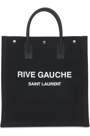 "Saint Laurent Tote Aus Baumwollcanvas ""rive Gauche"""
