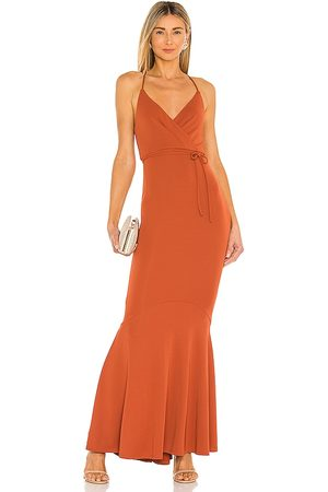 Michael Costello X REVOLVE Genevieve Maxi Dress in - Rust. Size L (also in XXS, XS, S, M, XL).
