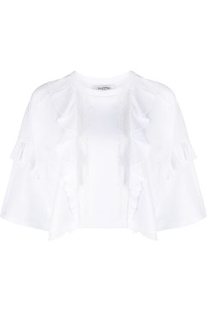 VALENTINO Damen Shirts - Lace panel cropped T-shirt