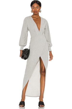 Michael Costello X REVOLVE Melanie Midi Dress in - Grey. Size L (also in XXS, XS, S, M).