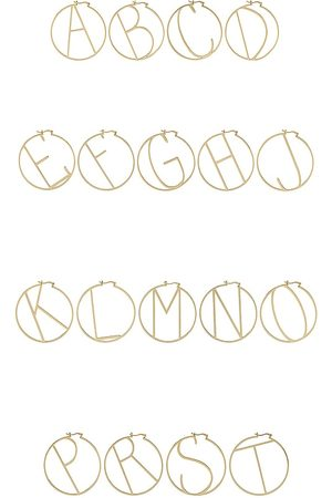 Retrofete Hoop Alphabet Earring in - Metallic . Size A (also in J, K, M, S).