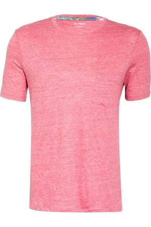 Olymp Herren Shirts - T-Shirt Aus Leinen pink