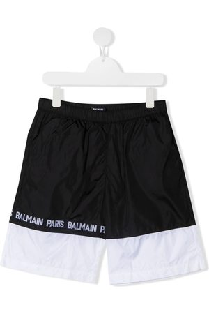 Balmain Jungen Badehosen - Logo tape colour block swim shorts
