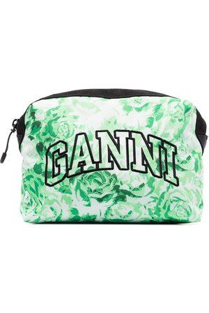 Ganni Floral embroidered logo vanity case