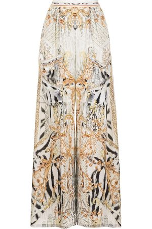 Camilla Gates of Glory-print wide-leg trousers