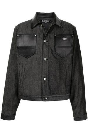 SANKUANZ Herren Lederjacken - Leather-trimmed denim jacket