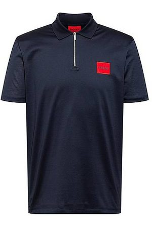HUGO BOSS Zip-neck cotton polo shirt with red logo label