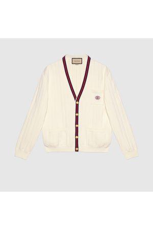 Gucci Herren Sweatshirts - Cardigan aus Baumwollstrick mit V-Ausschnitt und Web