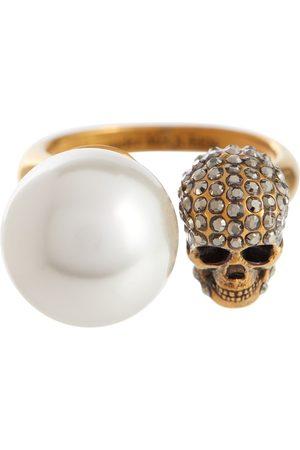 Alexander McQueen Ring mit Kristallen und Zierperle
