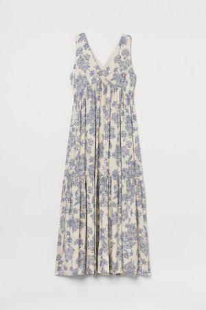 H&M Damen Lange Kleider - Langes Kleid mit V-Ausschnitt
