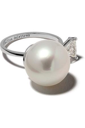 DELFINA DELETTREZ 18kt white Pearl & Triangle diamond Ring