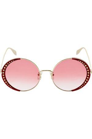 Alexander McQueen Damen Sonnenbrillen - Runde Metall-sonnenbrille Mit Nieten