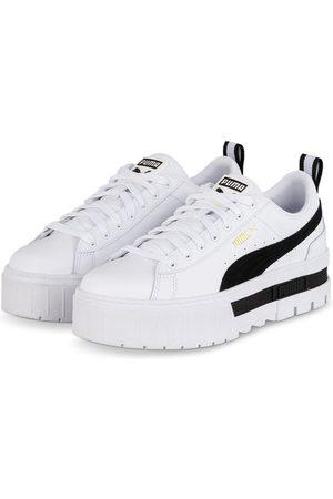 PUMA Damen Sneakers - Plateau-Sneaker Mayze Lth weiss