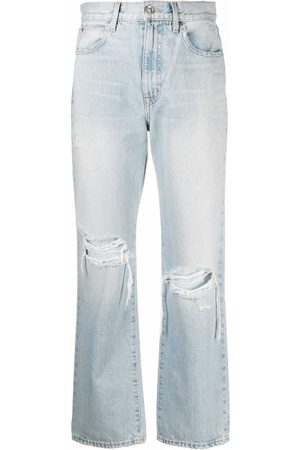 SLVRLAKE Ripped detailing straight-legged cropped jeans