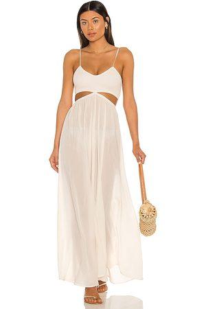 Indah Damen Lange Kleider - Innocence Solid Smocked Maxi Dress in - Cream. Size L (also in M, S, XS).