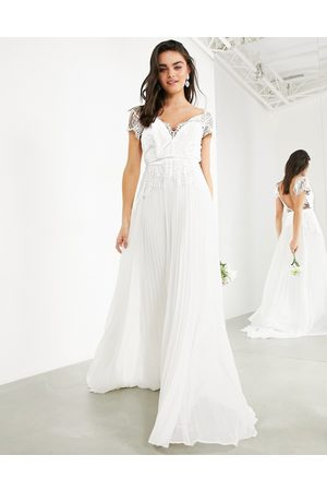 ASOS Sophia plunge lace wedding dress with pleated skirt