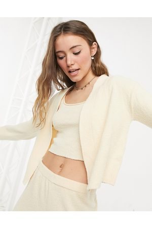 Monki Say fluffy knitted crop vest in 3 piece co-ord