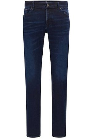 BOSS Regular-Fit Jeans aus dunkelblauem Stretch-Denim
