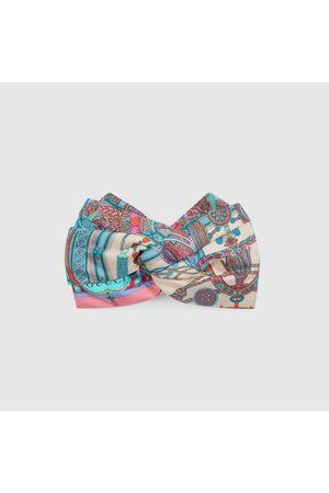 Gucci Damen Stirnbänder - Stirnband aus Seide mit Quasten- und Ketten-Print