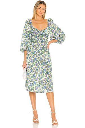 For Love & Lemons Bridget Midi Dress in - Blue. Size L (also in XS, S, M, XL).